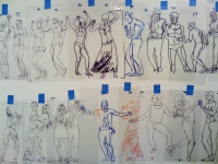 "Dancer Studies, 2008, Marker and Tape on Acetate, Each 12"" x  4"""
