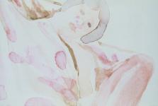 """Jerilyn, Watercolor on paper, 4 1/8"""" x 3"""""""