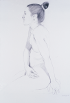 "Noa, 2002, Graphite on paper, 58"" x 38"""