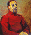 "Red TC, 2001, Oil on Canvas, 22"" x 20"""