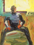 "Seated TC, 2001, Oil on Board, 8"" x 6 1/8"""