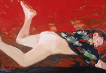 "Woman with Leg Up, 2005, Acrylic on panel, 12"" x 17 1/4"""