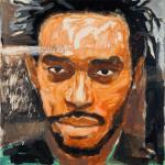 "Kareem #1, 2014, Acrylic on Acrylite, 24"" x 24"""