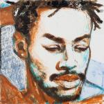 "Kareem #2, 2014, Acrylic on Acrylite, 24"" x 24"""